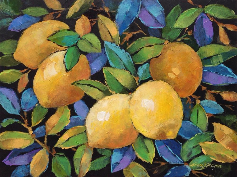 """Lively Lemons"" original fine art by Nancy F. Morgan"