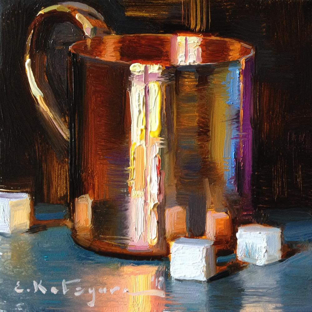"""Copper Cup and Sugar Cubes"" original fine art by Elena Katsyura"