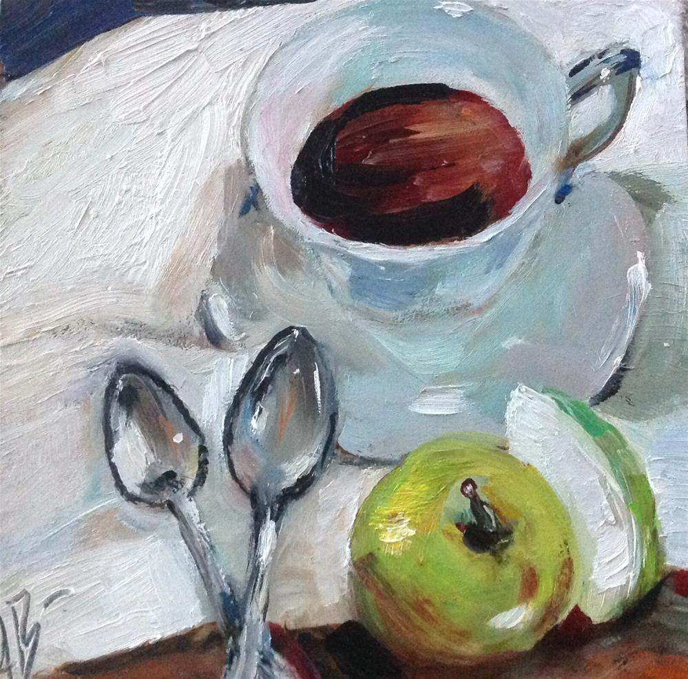 """Two spoons with Tea"" original fine art by Annette Balesteri"
