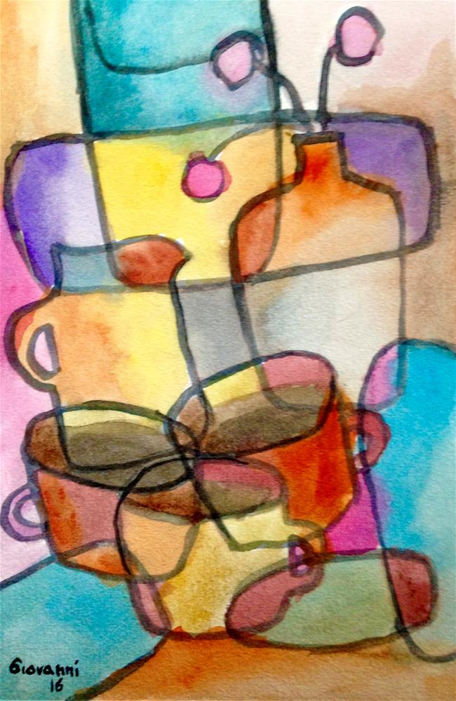 """Coffee cups, kettle, and flowers (still life)"" original fine art by Giovanni Antunez"
