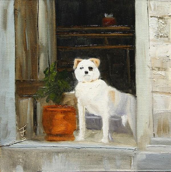 """Xidi Village Guard Dog"" original fine art by Jane Frederick"