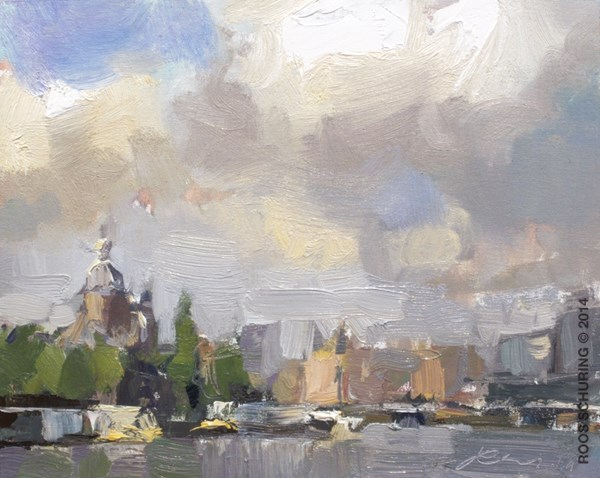 """CA04-2014 Schuring Cityscape Amsterdam"" original fine art by Roos Schuring"