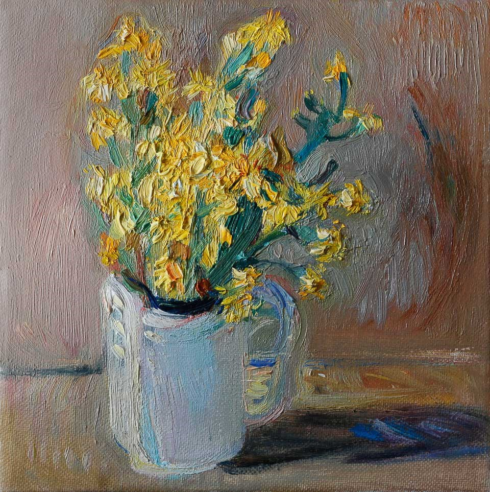"""Yellow Wildflowers in a White Cup"" original fine art by Anna  Fine Art"