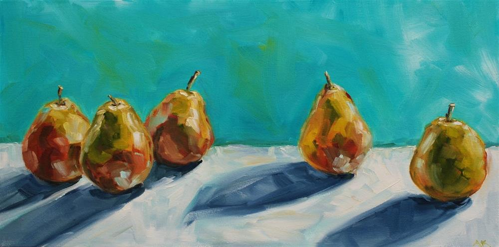 """Pear Lineup"" original fine art by Alison Kolkebeck"