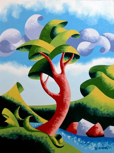 """Mark Adam Webster - Abstract Geometric Landscape Oil Painting 9.4.14"" original fine art by Mark Webster"