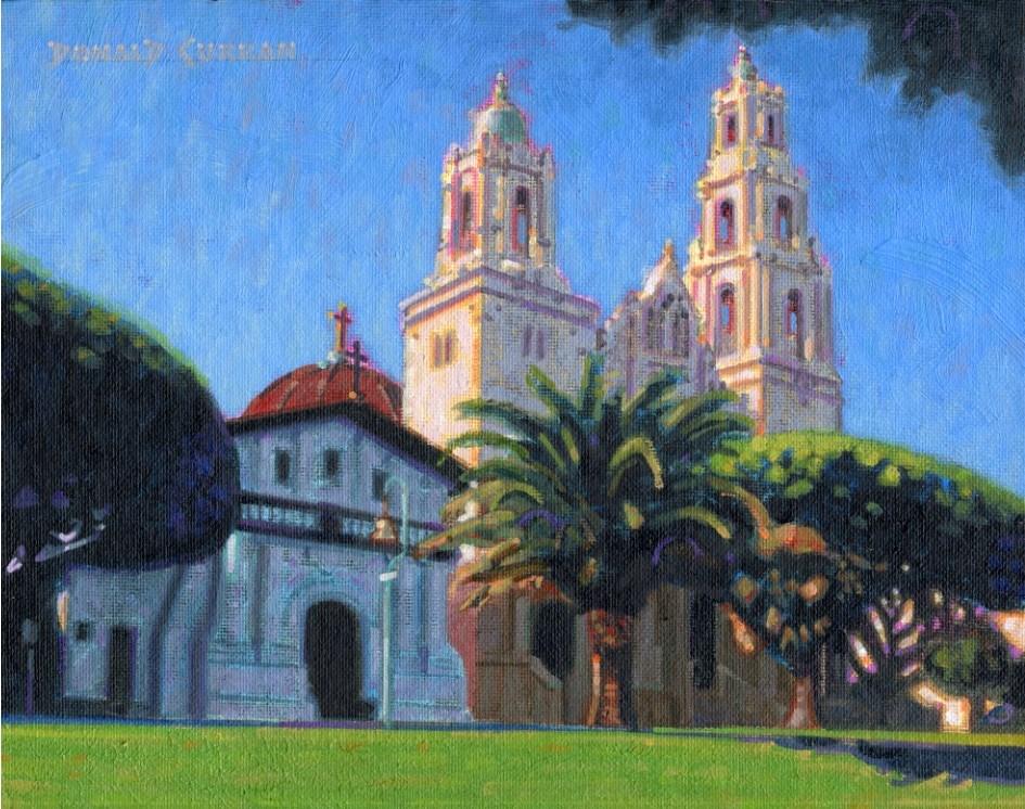 """California Mission"" original fine art by Donald Curran"