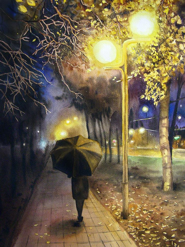"""Autumn Evening"" original fine art by Olga Beliaeva"