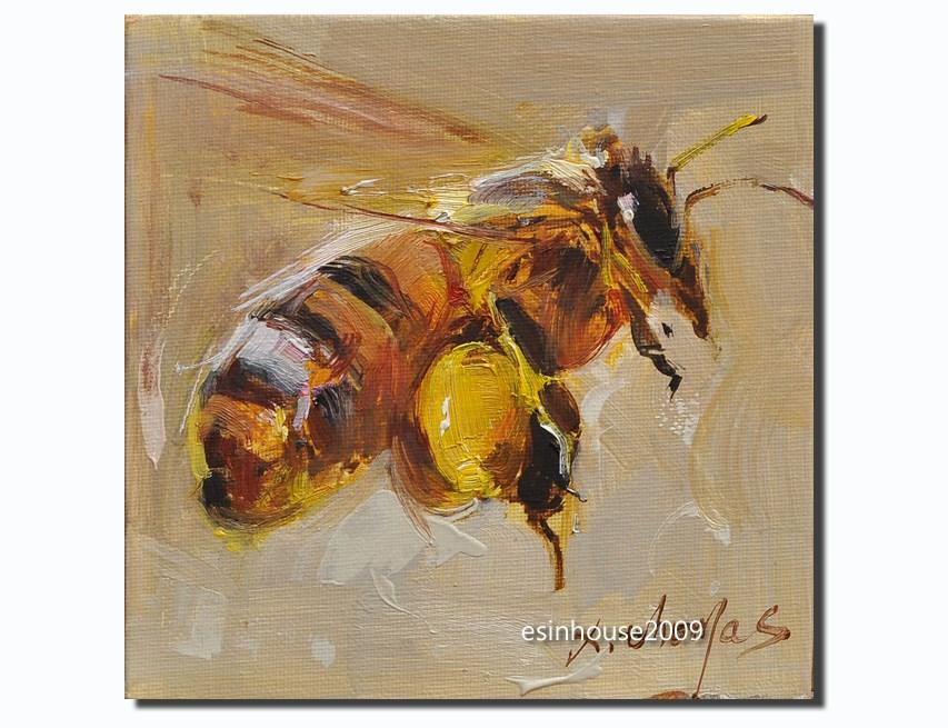"""6X6 Animals Oil Painting Flower Bee impressionism art new Artwork manuscript"" original fine art by Thomas Xie"