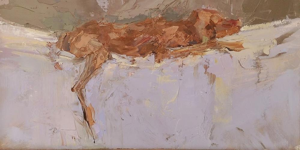 """Sargent Napping by Sally Shisler"" original fine art by Sally Shisler"