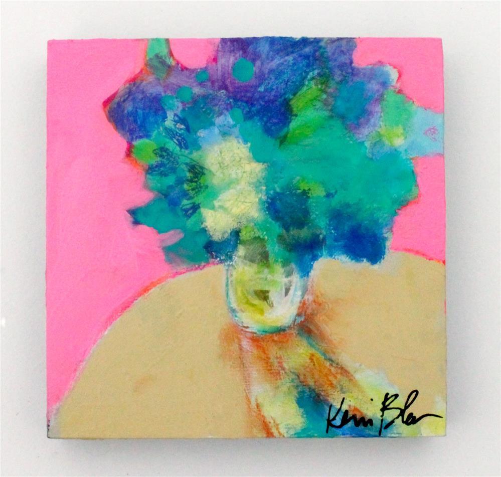 """""""Blue Flowers in a Vase """" original fine art by Kerri Blackman"""