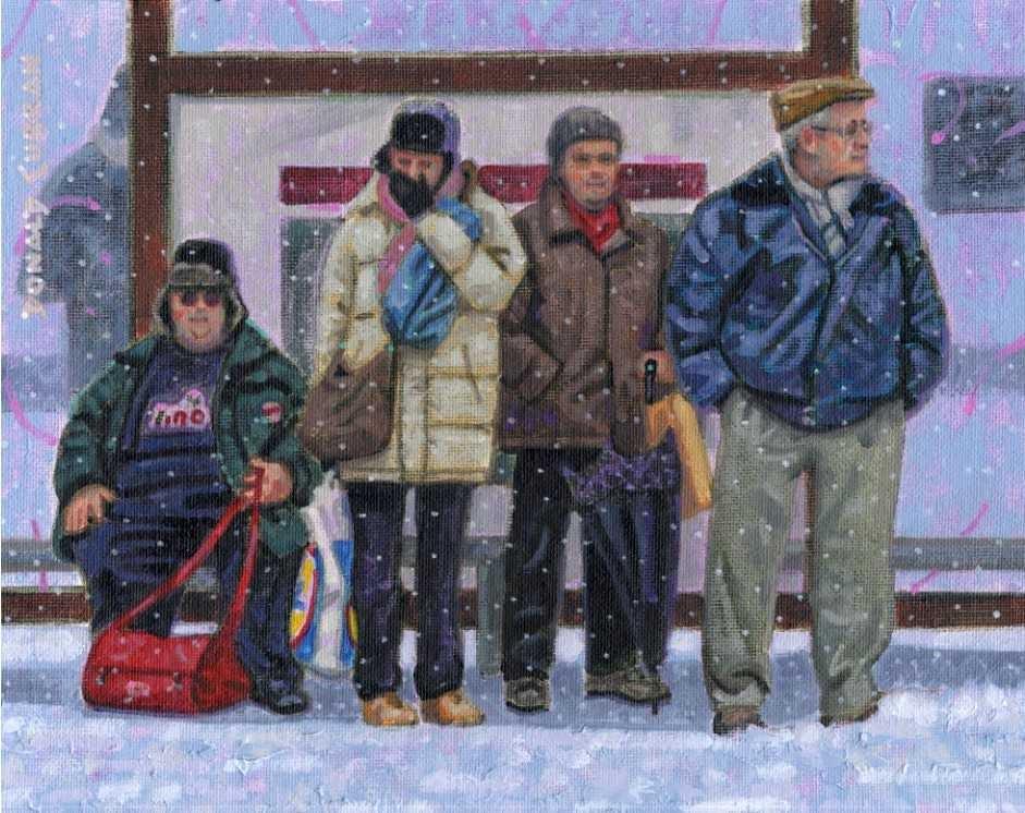 """Bus Stop"" original fine art by Donald Curran"