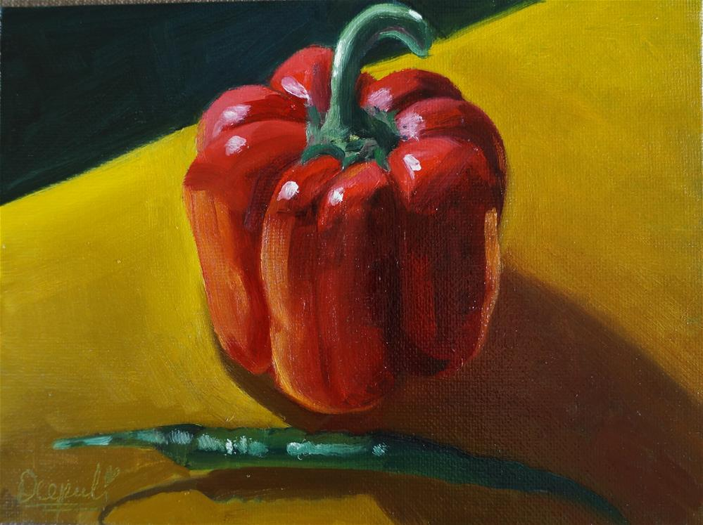 """Red Bell pepper and Chilli"" original fine art by Dipali Rabadiya"