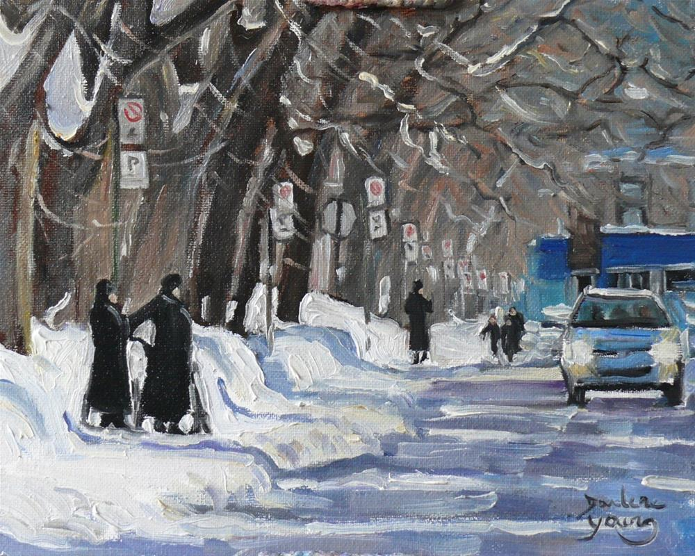 """921 Montreal Winter Scene, Outremont, oil on board 8x10"" original fine art by Darlene Young"