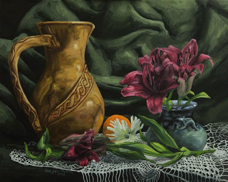 """""""Vase and Flowers 130222"""" original fine art by Sue Deutscher"""