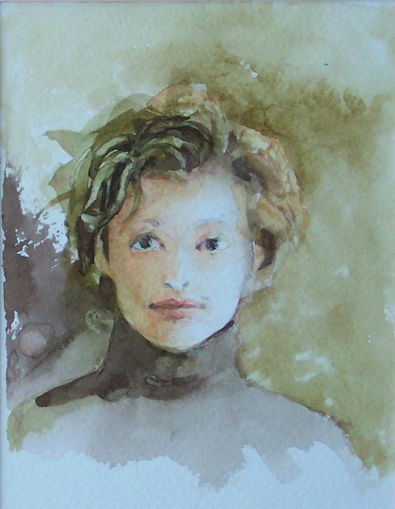 """Watercolor Portrait,portrait,watercolor on paper,7x5,priceNFS"" original fine art by Joy Olney"