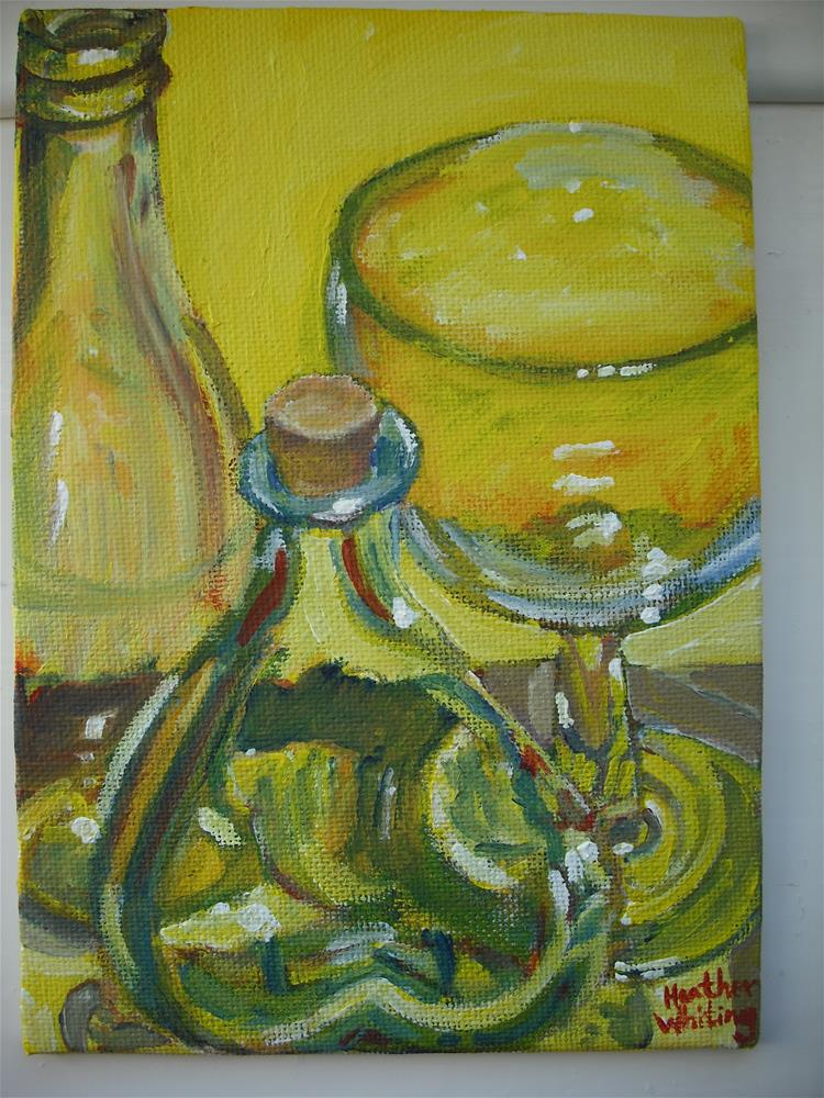 """Two Little Bottles and a Glass"" original fine art by Heather Whiting"