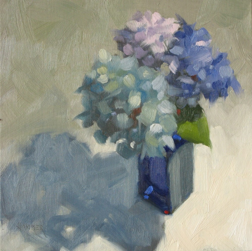 """Study in blue 8x8 oil"" original fine art by Claudia Hammer"
