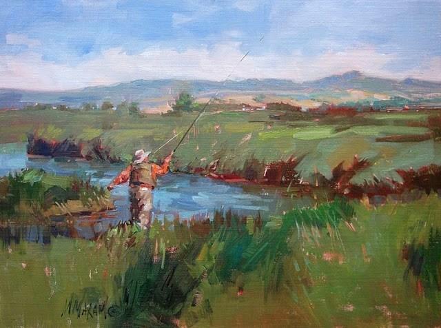 """Painting Overshare?  Montana Spring Creek"" original fine art by Mary Maxam"