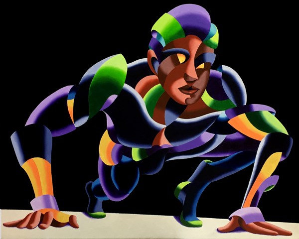 """Mark Webster - Dave 11.04 - Abstract Geometric Futurist Figurative Oil Painting"" original fine art by Mark Webster"