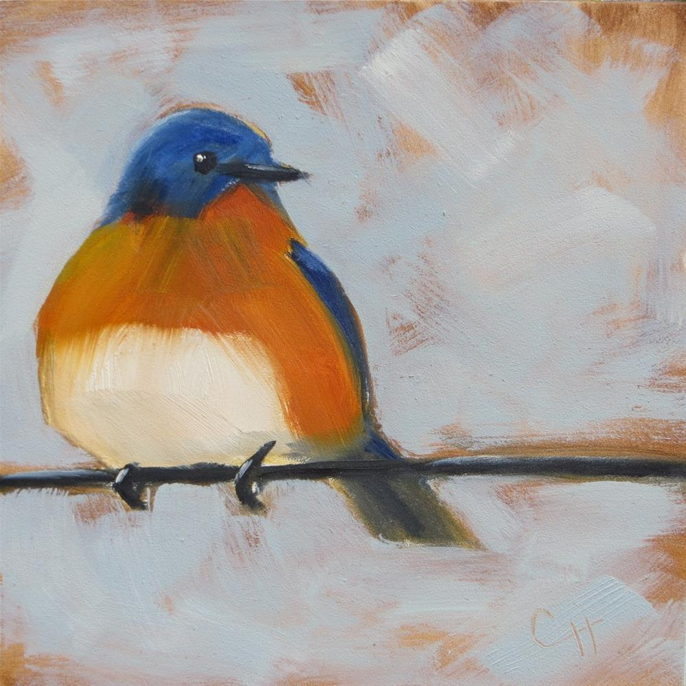 """Bluebird on Wire"" original fine art by Claire Henning"