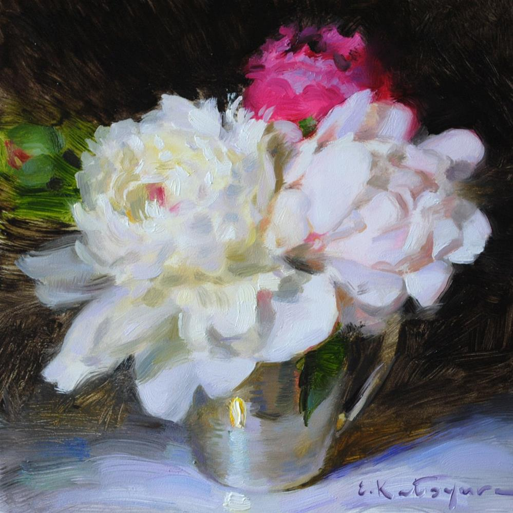 """Peonies in Silver"" original fine art by Elena Katsyura"