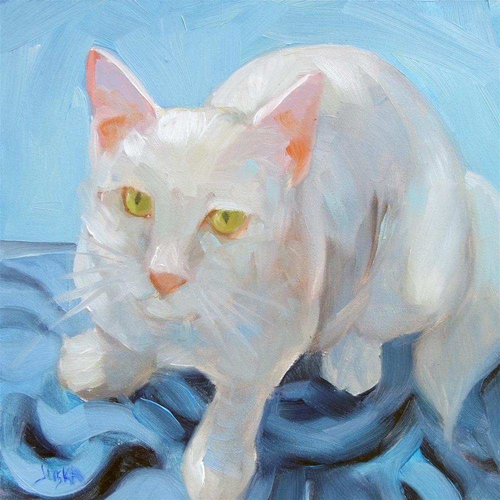 """White Kitty"" original fine art by Elaine Juska Joseph"