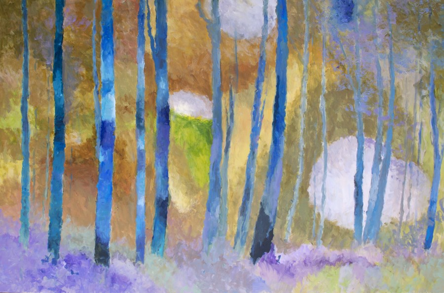"""KMA2687 Ethereal Aspen by Denver, Colorado artist Kit Hevron Mahoney (abstract landscape 48x74, aspe"" original fine art by Kit Hevron Mahoney"