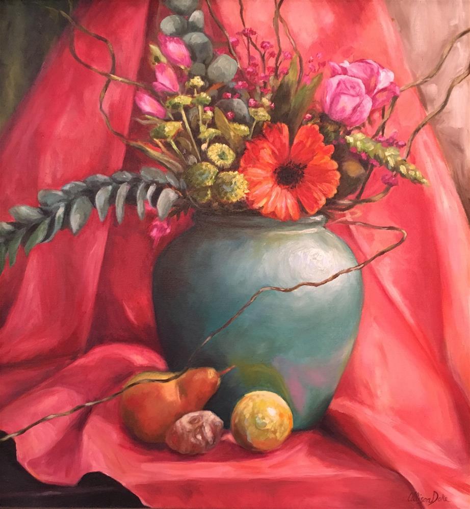 """Gerber Daisy in Teal Vase"" original fine art by Allison Doke"