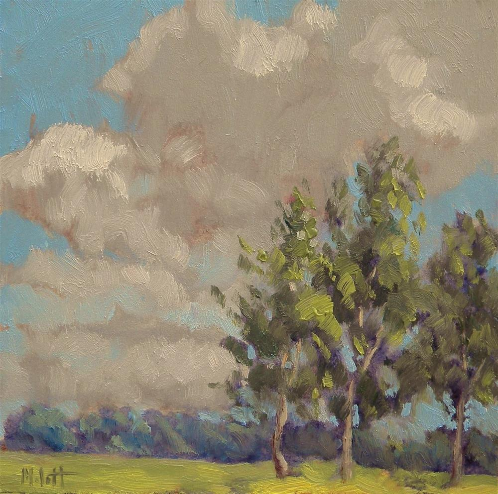 """Impressionist Art Landscape Poplar Trees Clouds Daily Paintings"" original fine art by Heidi Malott"