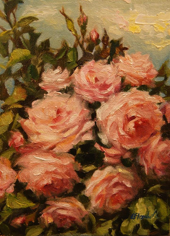 """Sketch of Pink Roses,  Oil on 5x7 Linen Panel"" original fine art by Carolina Elizabeth"