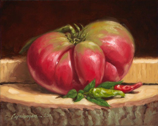 """Heirloom Tomato with Chiles"" original fine art by David Capalungan"