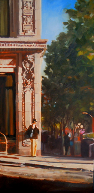 """Stand in the Light  Seattle city scenes, urban landscape"" original fine art by Robin Weiss"