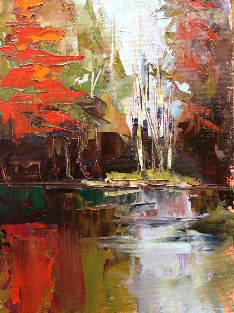 """""""Autumn Reflections, 8x10"""" original fine art by Ann Feldman"""