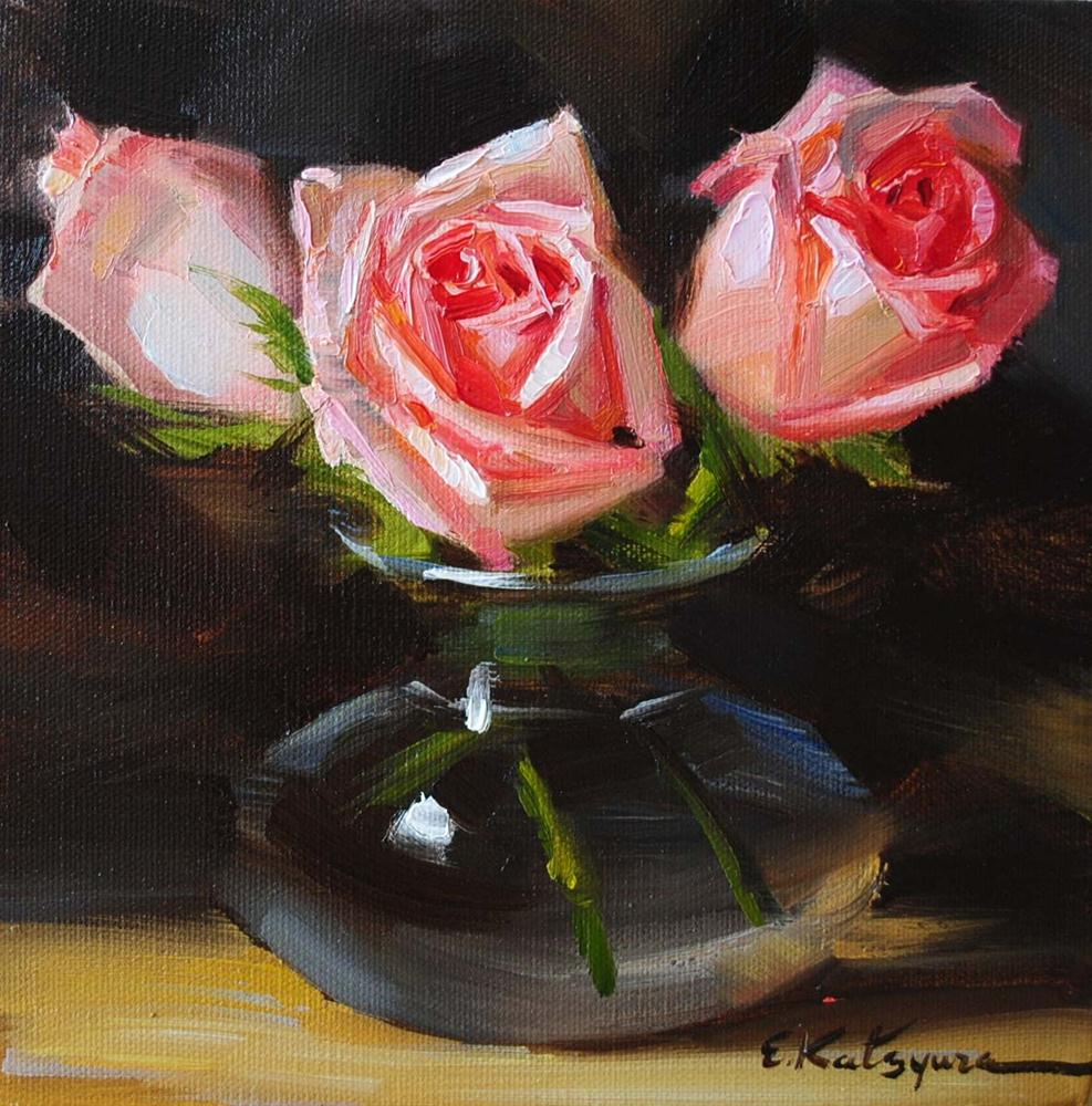 """Roses in Vase"" original fine art by Elena Katsyura"