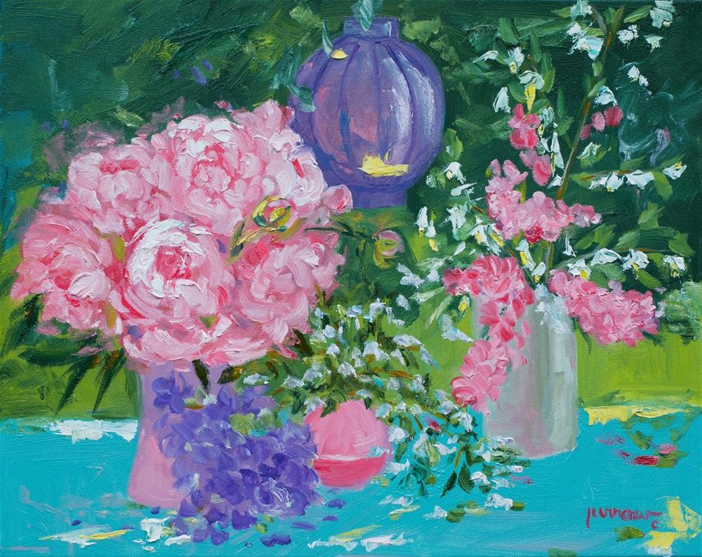 """ORIGINAL PAINTING STILL LIFE FLORAL PINK PEONIES PAPER LANTERN"" original fine art by Sue Furrow"