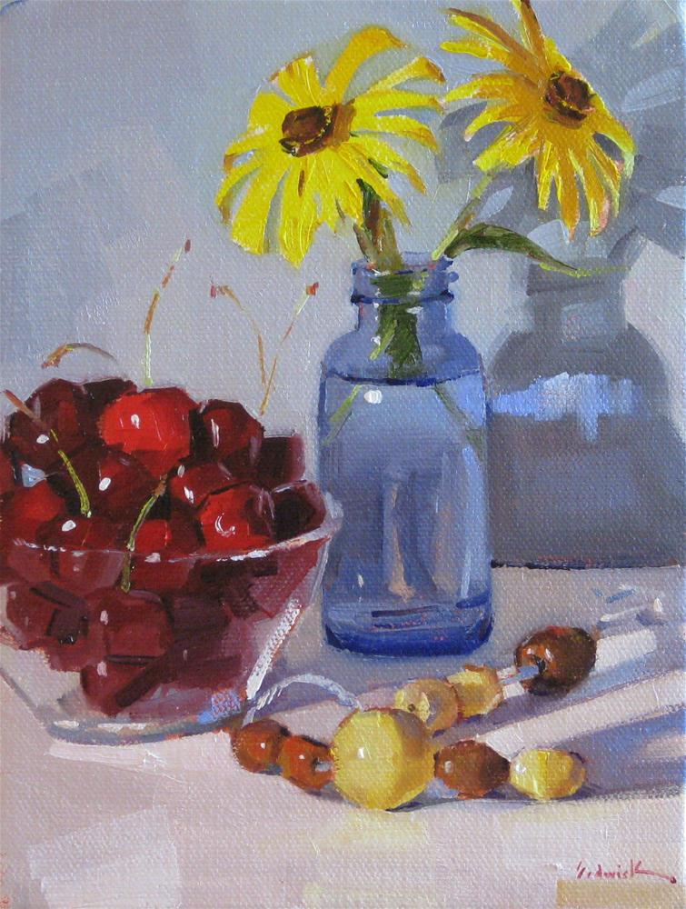 """Black Cherries and Black-Eyed-Susans floral fruit food kitchen art still life original oil daily p"" original fine art by Sarah Sedwick"