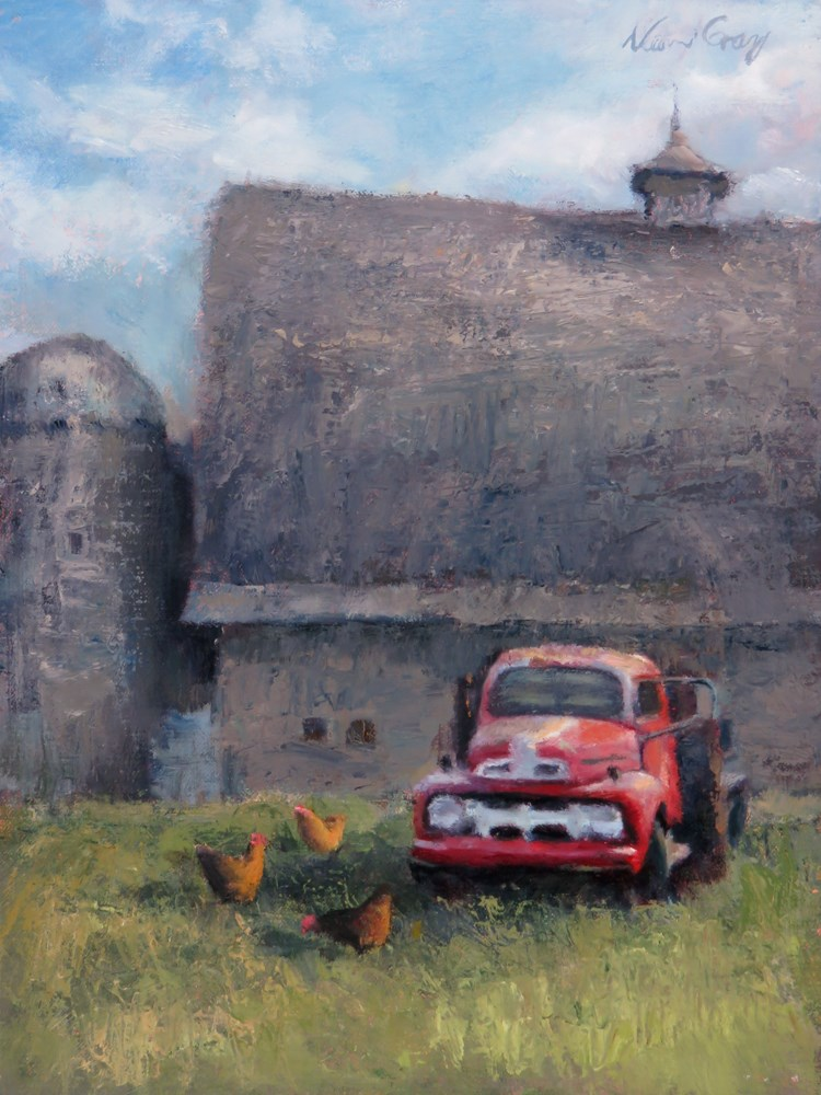 """Red Truck"" original fine art by Naomi Gray"