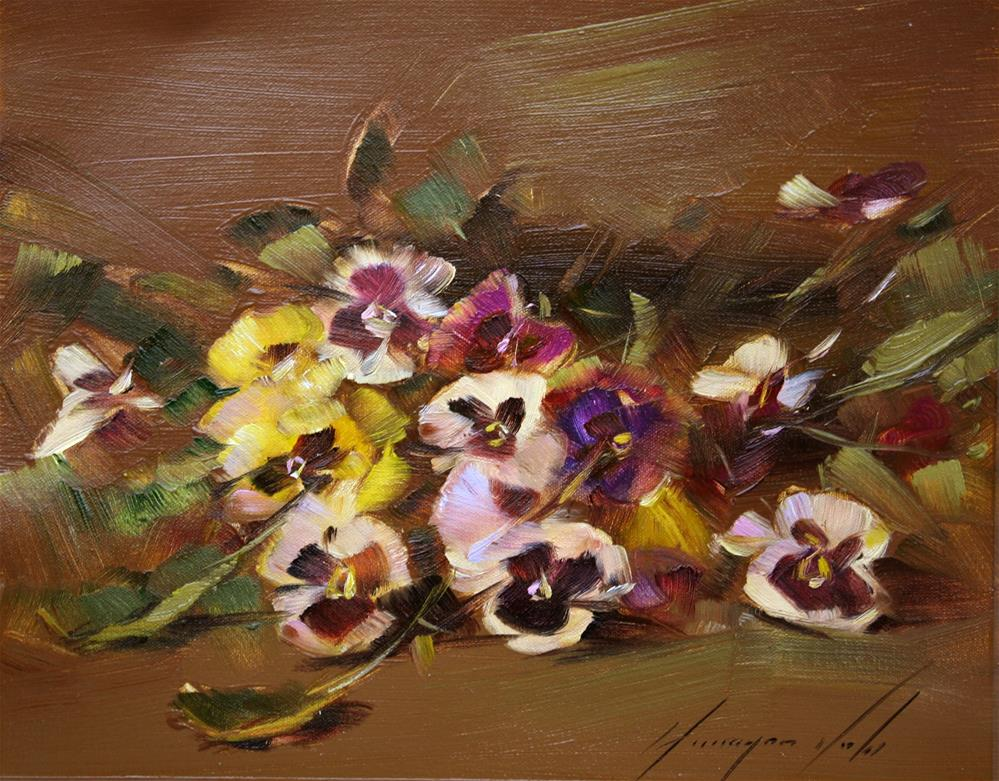 """PANSIES ORIGINAL OIL PAINTING ON CANVAS HANDMADE"" original fine art by V Y"
