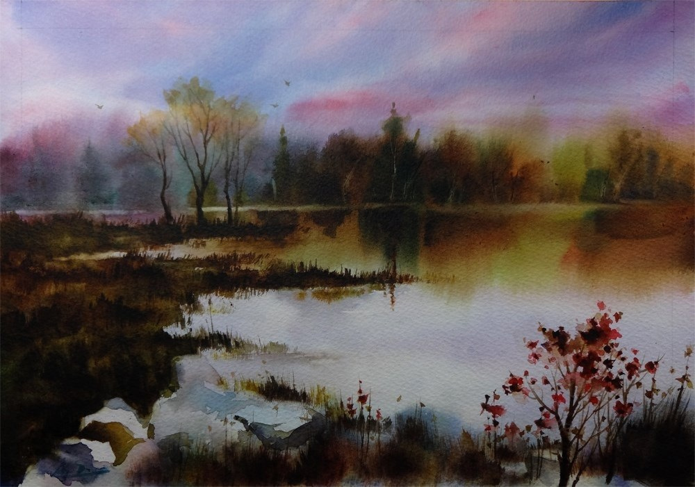 """Fall over Marsh"" original fine art by Arena Shawn"