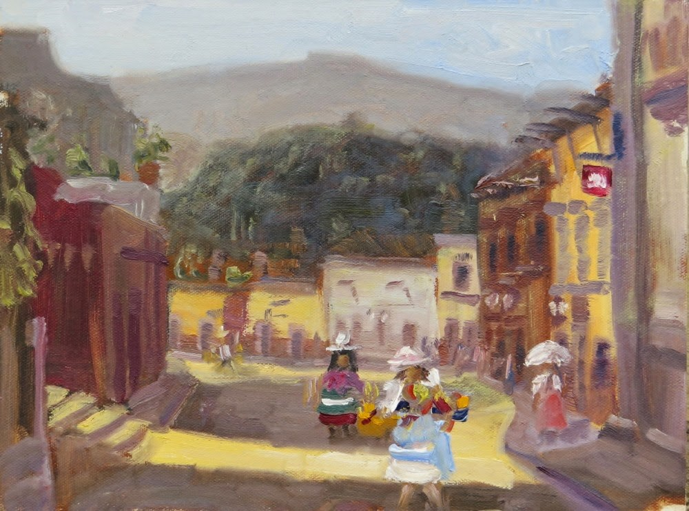 """Vendors Headed to Work"" original fine art by Richard Kiehn"