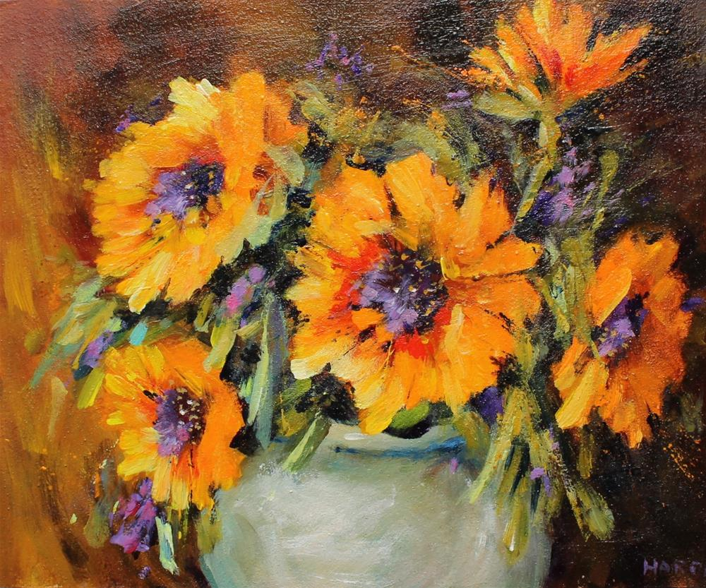 """Original sunflower floral flower still life acrylic painting"" original fine art by Alice Harpel"