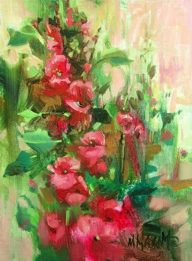"""Hot Pink Hollyhocks"" original fine art by Mary Maxam"