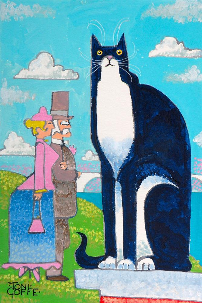 """La Chat Seurat"" original fine art by Toni Goffe"