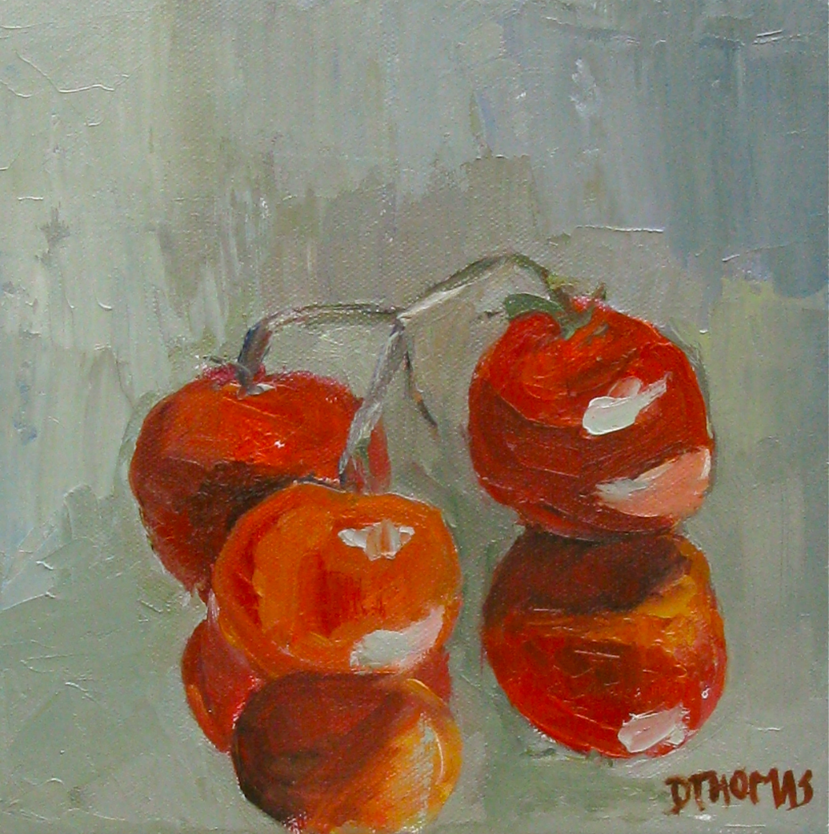 """Vine Tomatoes on Mirror"" original fine art by Donna Thomas"