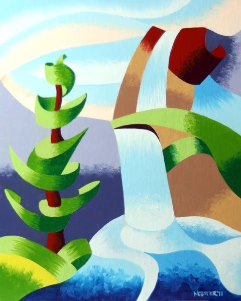 """Mark Webster - Abstract Waterfall with Pine Tree Landscape Oil Painting"" original fine art by Mark Webster"