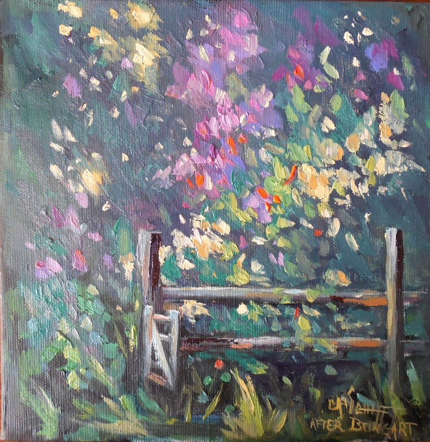 """Garden Painting, Daily Painting, Small Oil Painting, Garden Gate by Carol Schiff, 8x8x1.5 Oil"" original fine art by Carol Schiff"