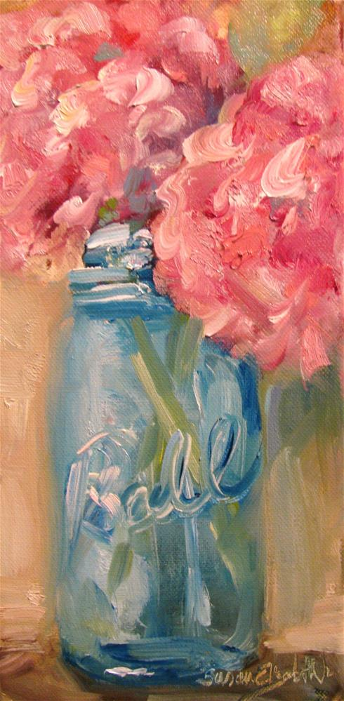 """Pink Hydrangeas in Blue Jar"" original fine art by Susan Elizabeth Jones"