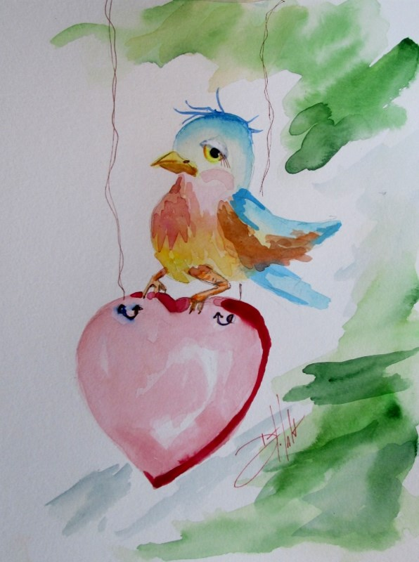 """Blue Bird and Heary"" original fine art by Delilah Smith"