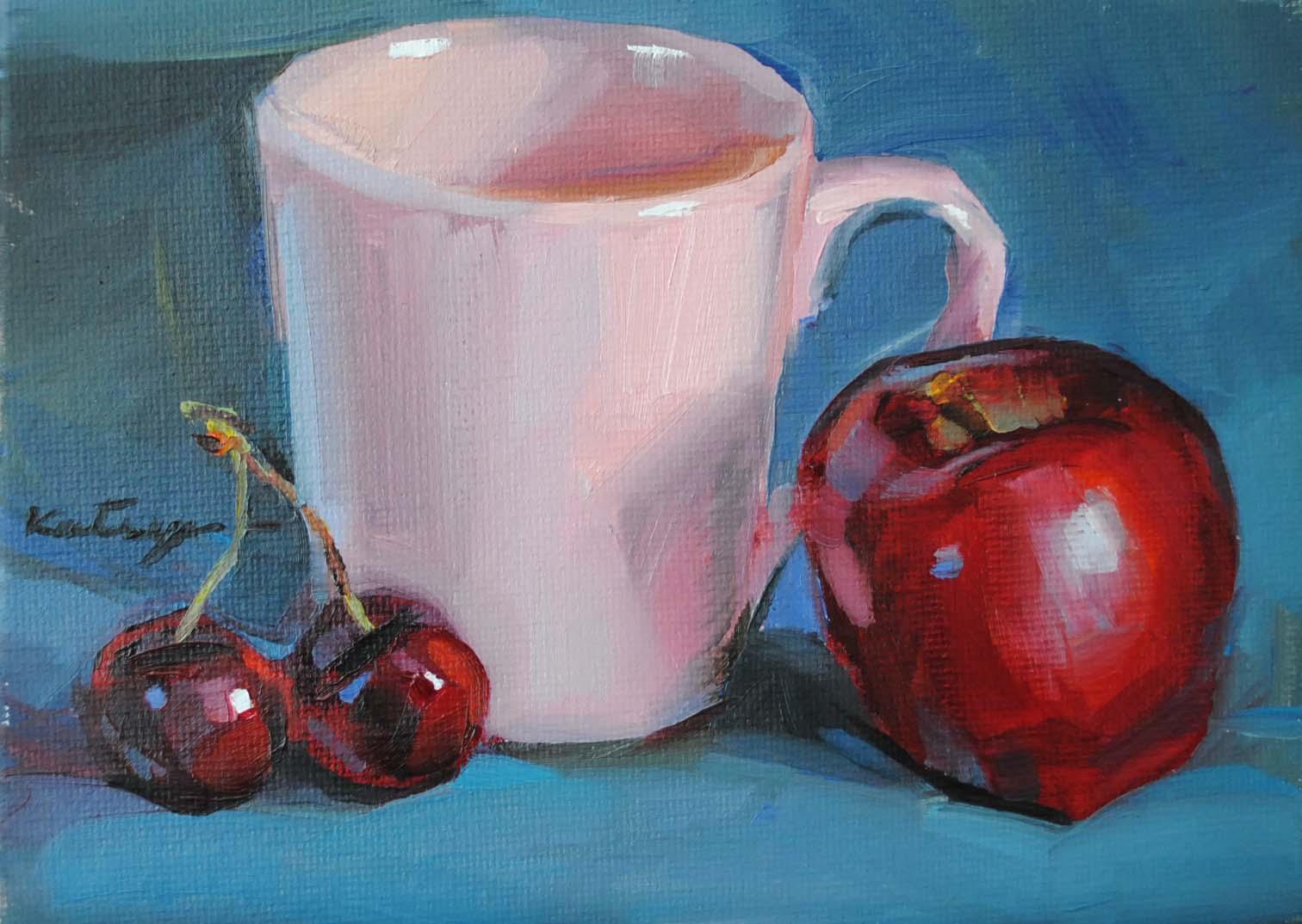 """Pink Mug"" original fine art by Elena Katsyura"