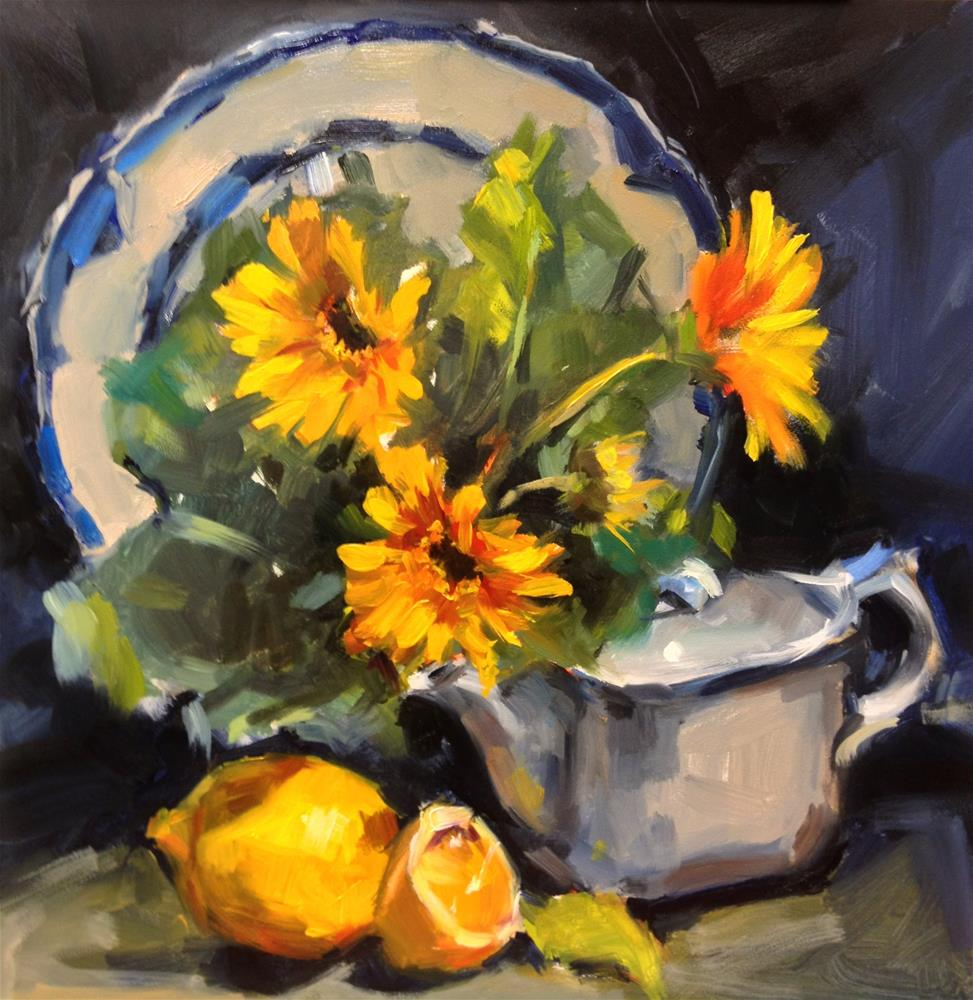 """""""A Study in Blue and Yellow"""" original fine art by Laurie Johnson Lepkowska"""